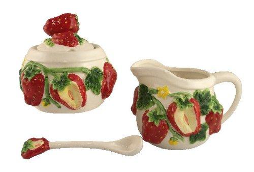 STRAWBERRY 3-D Creamer & Sugar Jar Set w/Sugar Spoon (Country Apple Ceramic Pitcher)
