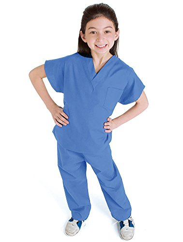 Landau Kid's Unisex Solid Scrub Set Ceil Blue]()