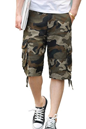 CANASOUR Men Khaki Camouflage Multi Pockets Jogger Capri Cargo Shorts (US Size 34, Green Camouflage)