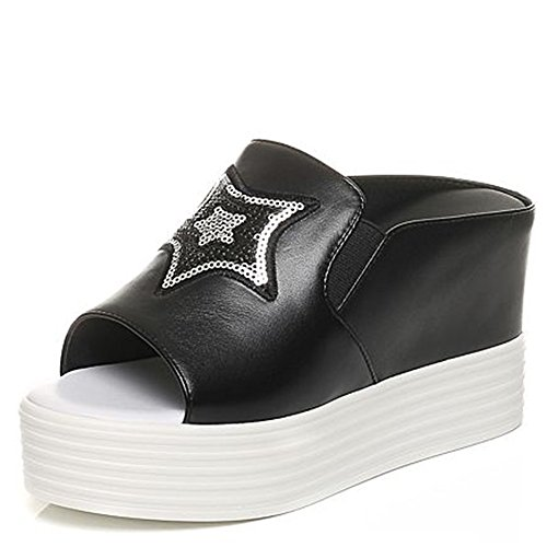 Cómodo Pantuflas de cuero de los cequis del verano Zapatillas de deporte Zapatillas de deporte ocasionales simples Pantuflas inferiores gruesas (2 colores opcionales) (tamaño opcional) Aumentado ( Col B