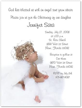 Amazoncom Angel Baptism Christening Invitations Set of 20