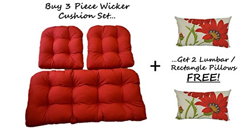Solid Red Cushions for Wicker Loveseat Settee & 2 Matching Chair Cushions + 2 Free Green and Red Poppy Flower Floral Rectangle / Lumbar Pillows (Settee Furniture Wicker)