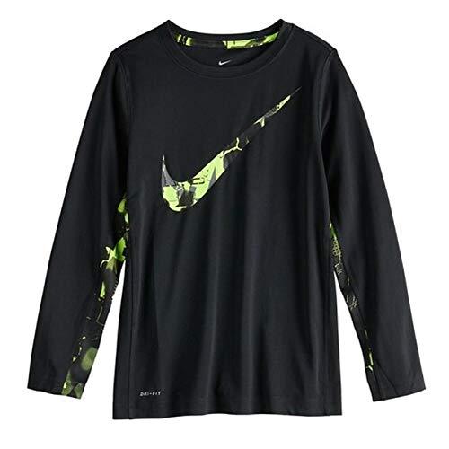 - Nike Big Boys Swoosh Logo Polyester Dri-Fit Long Sleeve T-Shirt (Black (011)/Volt, Medium)
