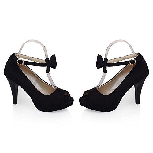 TAOFFEN Women Ankle Strap Sandals Shoes Bow Black-6 BOrDbLMpit