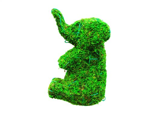 - Elephant Sitting 16 inches high x 13 inches long x 9 inches wide w/ Moss Topiary Frame , Handmade Animal Decoration