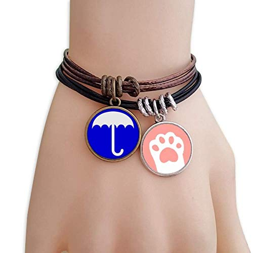 DIYthinker Rain Blue Square Warning Mark Cats Bracelet Leather Rope Wristband Couple Set