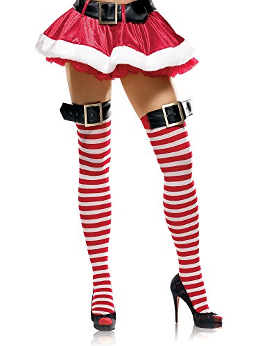 [Leg Avenue Women's Stripe Thigh High Stockings With Buckle Top, White/Red, Small/Medium] (Slutty Christmas Costumes)
