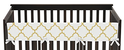 Sweet Jojo Designs White and Gold Trellis Lattice Long Front Rail Guard Baby Teething Cover Crib Protector (Lattice Rail)