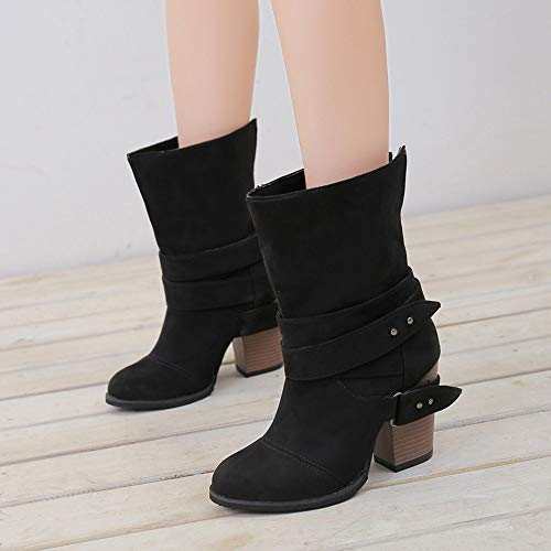 Heel Square Boots Sunday77 Flcok Comfort Women Boots Leather Winter Ankle for Low Black Casual Solid PU Martin Ladies Adults Shoes dIaXwxw