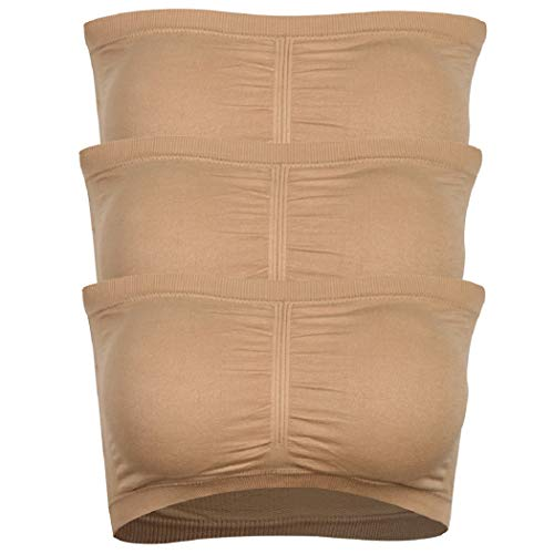 (saillsen Beige Tube Tops for Women, Novelty Nursing Bra Sexy Seamless Bandeau Solid Color Sports Bra Basic Layering Strapless Bra with Removable Pads,Beige,S,3Pack)