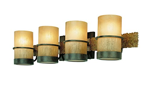 Troy Lighting Bamboo 4-Light Vanity - Bamboo Bronze with Natural Slate Finish and Bamboo (Bamboo 4 Light)