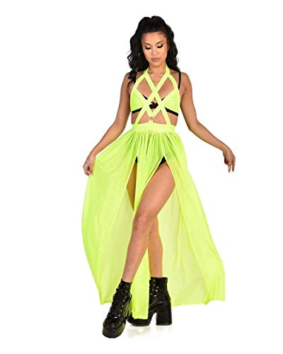 iHeartRaves Eyes Wide Shut Neon Harness Dress (Neon Yellow, X-Small) -