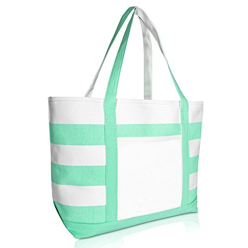 (DALIX Striped Boat Bag Premium Cotton Canvas Tote White Mint Green)