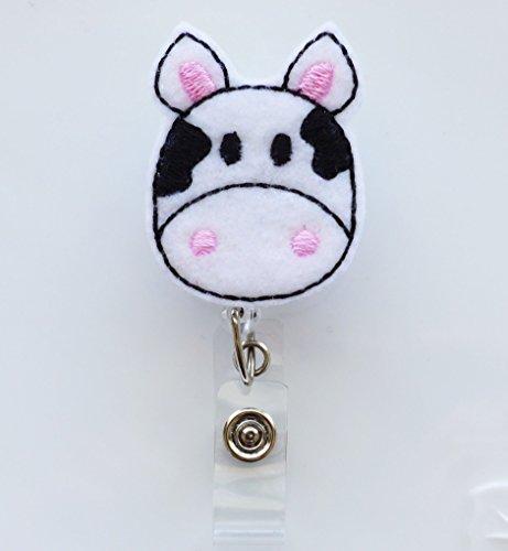 LOVEKITTY ® - Cow Felt Retractable ID Badge - Nursing Name Badge Holder