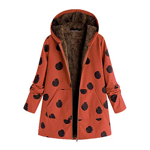(Realdo Women Fashion Coat, Womens Warm Outwear Dot Print Hooded Pockets Vintage Oversize Hoodies)