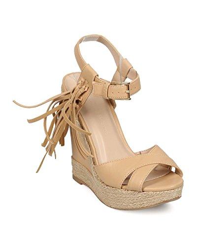 Wild Diva Women Leatherette Peep Toe Tassel Espadrille Wedge Sandal EG07 - Natural (Size: 7.0)