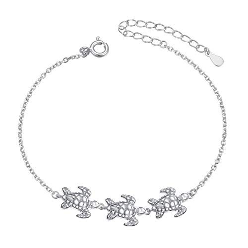 Sea Turtle Anklet for Women S925 Sterling Silver Adjustable Foot Plus Tortoise Ocean Ankle Bracelet 10 - Ankle Inch Bracelet Silver 9