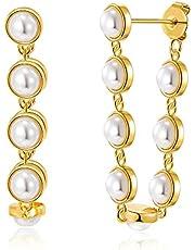 FAMARINE Gold Pearl Hoop Earrings for Women 14K Gold Plated Dainty Lightweight Pearl Hoops for Girls Jewelry Gift