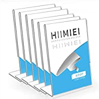 HIIMIEI Clear Acrylic Slant Back Sign Holder 8.5x11 6 Pack, Large Plastic Table Menu Display Stand Holder, Plexi Single Ad Frame for Restaurants,Hotels,Stores