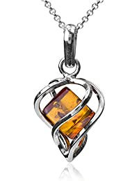 Amber Sterling Silver Heart Millennium Collection Modern Pendant Rolo Chain 18""