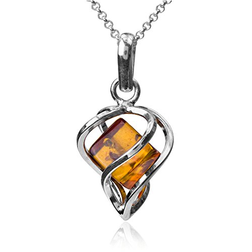 Amber Honey Heart (Honey Amber Sterling Silver Millennium Collection Heart Modern Pendant Rolo Chain 18