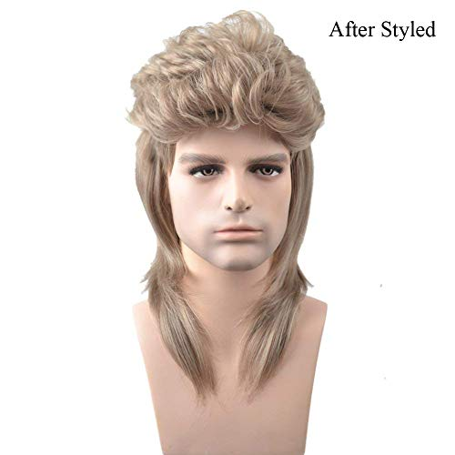 BERON 16'' New Stylish Men's Mullet Wig Costume Disco Party Synthetic Wigs Hairnet Included -