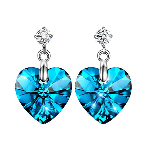 LADY COLOUR Heart Earrings Christmas Women Gifts Her Thanksgiving Present Drop Dangle Earrings Blue Swarovski Crystal Jewelry Birthday from Husband Daughter for Wife Mom Girlfriend