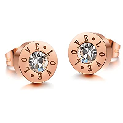 Trusuper Womens Fashion Jewelry Rose Gold Plated Cute Love Titanium Steel Earrings Stud for sale