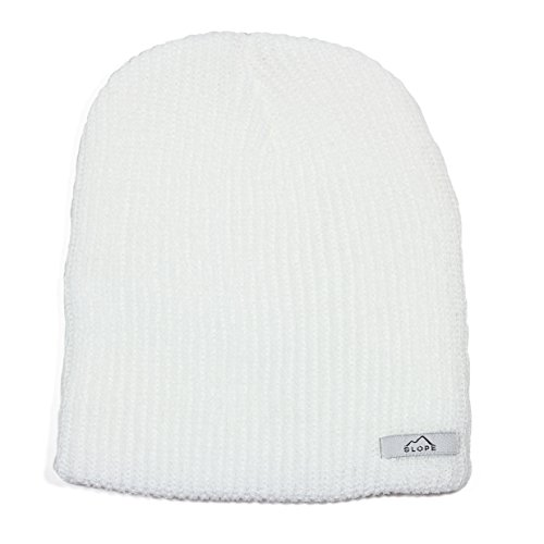 Slope Men's Daily Beanie Thin Double Ribbed Knit Beanie White