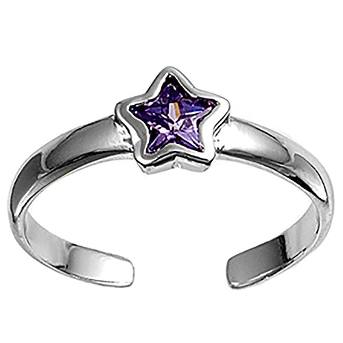 Toe Ring Star Simulated Purple Amethyst 925 Sterling Silver