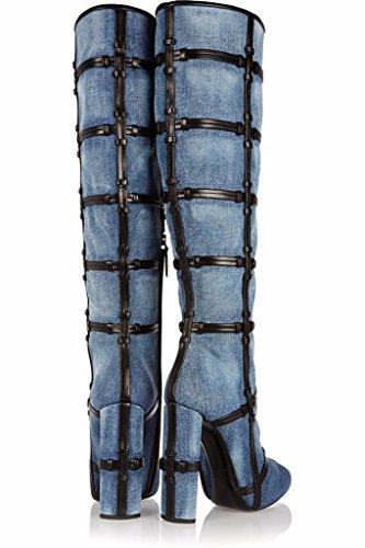 4 High Toe Thigh Q Over Amy Boots High 15 Peep Denim Women's Knee Knee US Size The Boots High Heel wZqFPvF