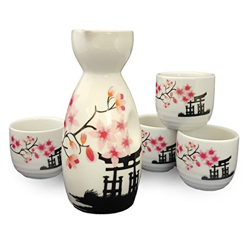 Happy Sales HSSS-CBWP31 Japanese Sake Set White and Pink Blossom,