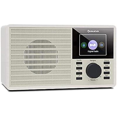 auna DR-160 DAB Radio Clock Radio  Bluetooth Radio  USB Port  AUX  2 4  TFT Display  Off Timer  Nostalgic Look  White