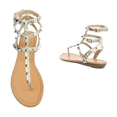Ital-Design Zehentrenner Damenschuhe Schnalle Sandalen Sandaletten Gold P-774