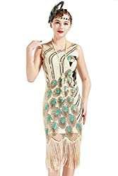 Vintage Peacock Sequin Beige Fringed Flapper Dress