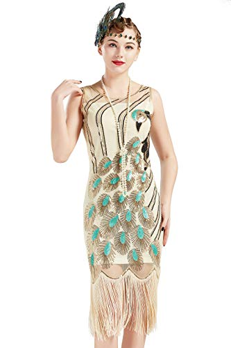 BABEYOND 20s Vintage Peacock Sequin Fringed Party Flapper Dress (Beige, Small)