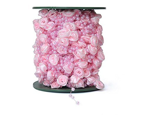 Blogger 30m/100feet Cream Rose Flower Pearl Beads String Garland Wedding Centerpiece Party Decoration Crafting DIY Accessory for Party Garland Wedding Centerpieces Bridal Bouquet Decoration (Pink Bead Garland)