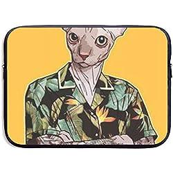 Gao808yuniqi Un Gato en una Camisa Hawaiana clásico para portátil de Mujer, Funda Protectora de Transporte Compatible con MacBook Pro de 13 a 15 Pulgadas, portátil, Funda Delgada, Negro, 33.02 cm