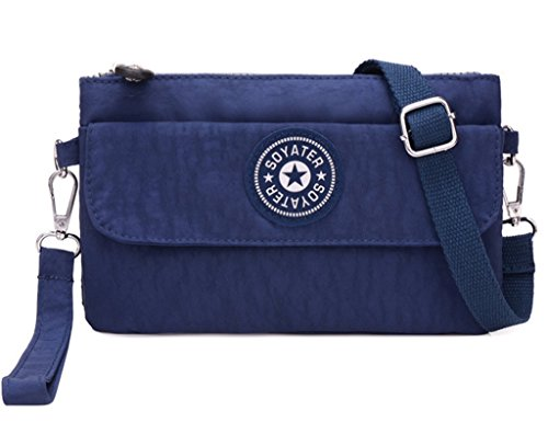 Messenger Kecartu Nylon Crossbody Layers Women's resistant Navy Clutch Wristlet Purse Blue Bag Dual Water Small XYIrX