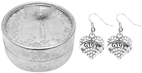 [Mother's Day Gift Best Gigi Ever Poem Boxed Jewelry Gift Set Engraved Pendant Earrings Jewelry For Gigi Crystal Adorned Heart Shaped Pendant French Hook Earrings Gift Box for Gigi Grandma] (Simple Cheer Dance Costumes)