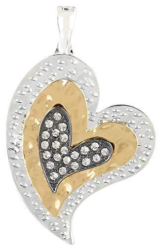 - Wearable Art by Roman Tri-Tone Heart Pendant One Size Tri Tone