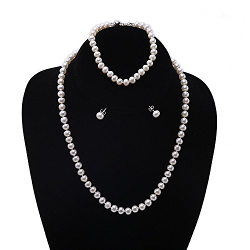 JYX 6-7mm AAA White Freshwater Cultured Pearl Necklace Bracelet Earrings Jewelry Set (Real Pearl Jewelry Sets For Women)
