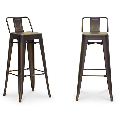 Cheap Baxton Studio French Industrial Modern Bar Stool, Antique Copper, Set of 2