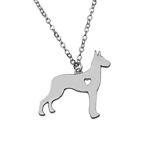 Silvertone I Love My Dog Lover Heart Outline Great Dane Pet Puppy Rescue Pendant Necklace