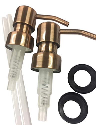 Industrial Rewind Copper Soap Pumps with Collar Rings - 2pk - Replacement Pumps for Your Bottles, Mason Jars or Other DIY Soap or Lotion Dispensers (A Bottle Of Jack Daniels Down In One)