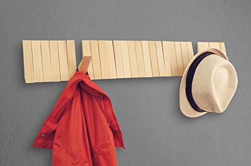 Triangular Coat (Home Moda Piano Wall Mounted CoatRack with Space Saving 29 Hooks for Coats, Bags,Shirts, Purses, Hats,Accessories, and More, (Pine)