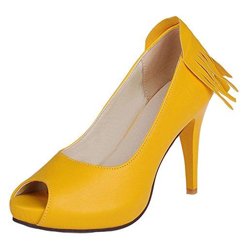 Moda Talón de las mujeres stiletto talón Peep Toe plataforma flecos Bomba amarillo
