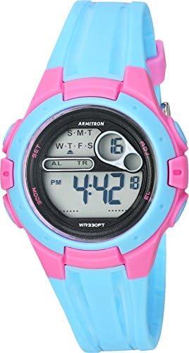 Armitron Sport Women s 45 7079LBL Pink Accented Digital Chronograph Light Blue Resin Strap Watch
