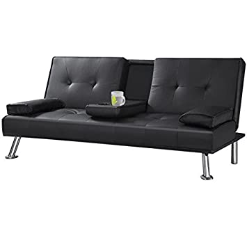 Yaheetech Faux Leather Folding Sofa Bed With Cup Holders Black