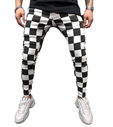 Men's Long Casual Sport Pants Slim Fit Plaid Trousers Running Joggers Sweatpants (S, Plaid)